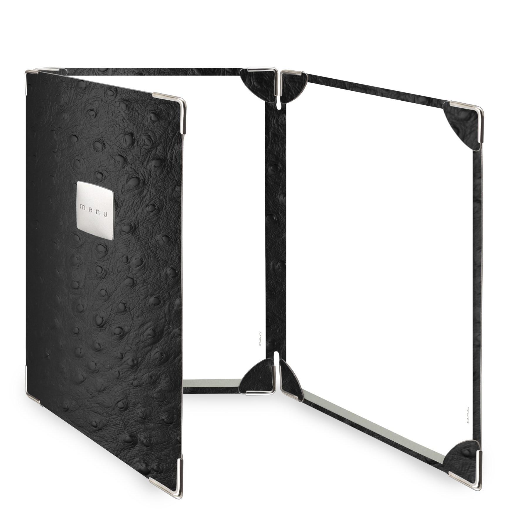 Protège menu 3 volets Fashion noir aspect peau d'autruche