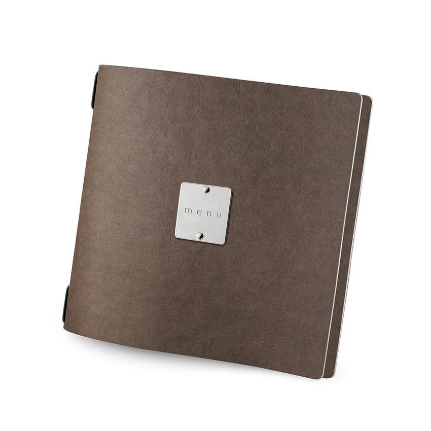 Protège menu QUADRATO Ecologique marron aspect fibre lisse