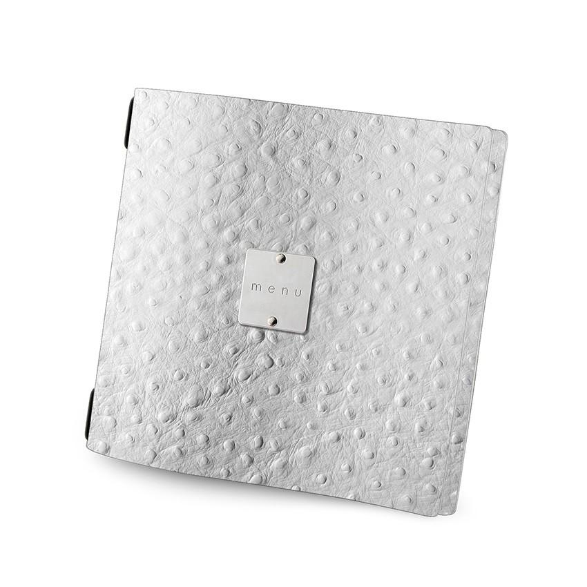 Protège menu QUADRATO Fashion blanc aspect peau d'autruche