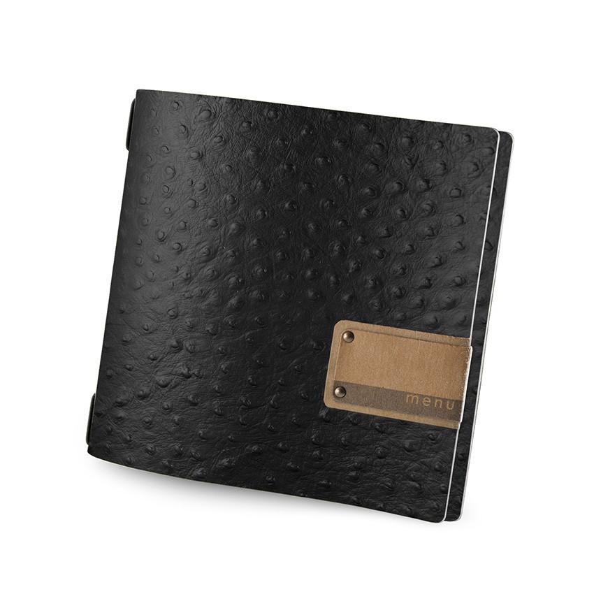 Protège menu QUADRATO Fashion noir aspect peau d'autruche