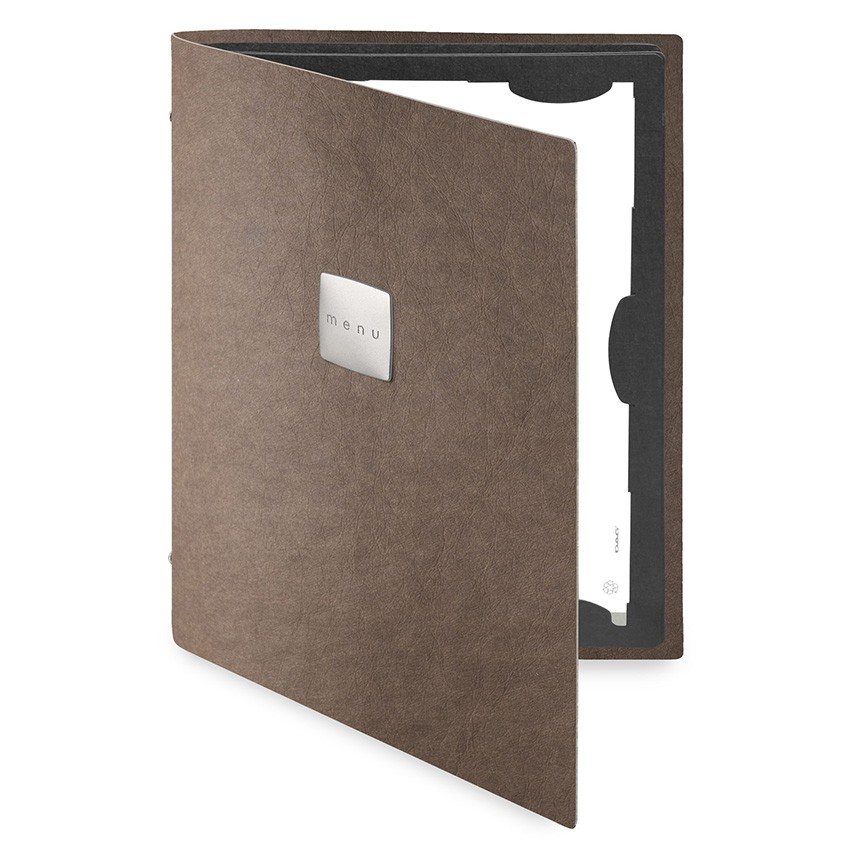 Protège menu FLAP Ecologique marron aspect fibre lisse