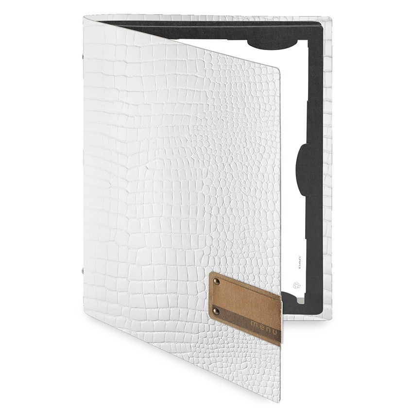Protège menu FLAP Fashion blanc aspect crocodile