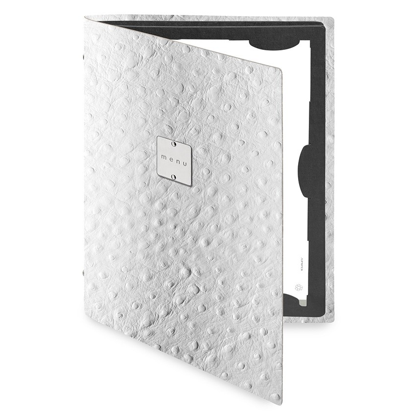 Protège menu FLAP Fashion blanc aspect peau d'autruche