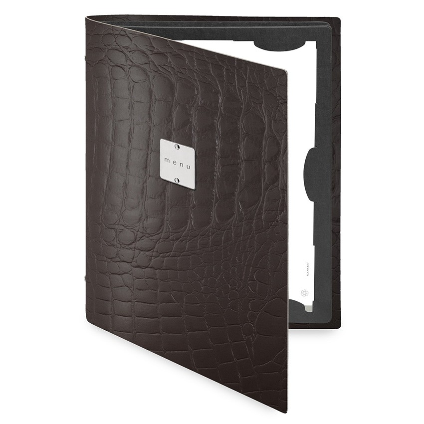 Protège menu FLAP Fashion marron aspect crocodile