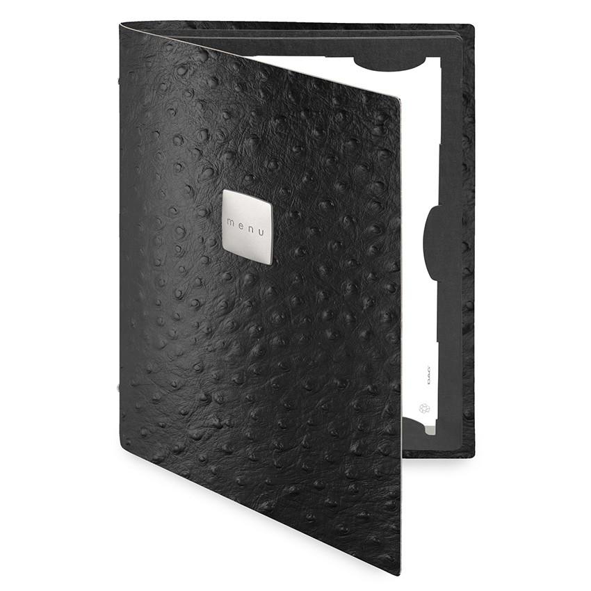 Protège menu FLAP Fashion noir aspect peau d'autruche