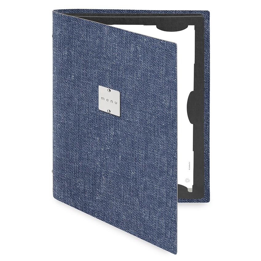 Protège menu FLAP MenuMenu bleu aspect jean's