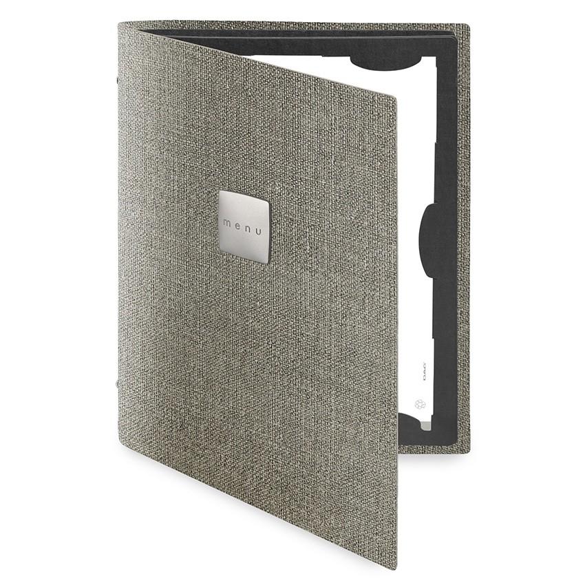 Protège menu FLAP MenuMenu gris aspect jute
