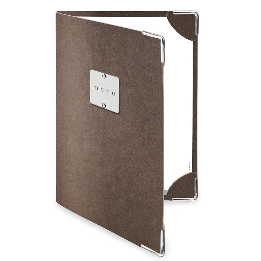 Protège menu DELUXE Ecologique marron aspect fibre lisse