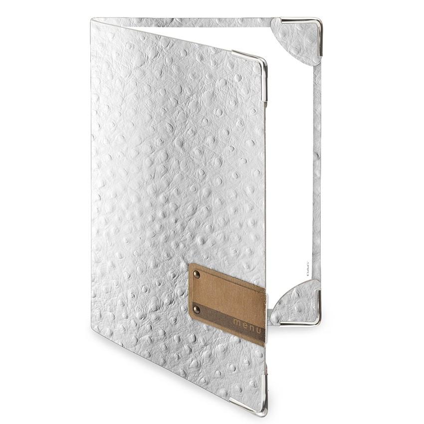 Protège menu DELUXE Fashion blanc aspect peau d'autruche
