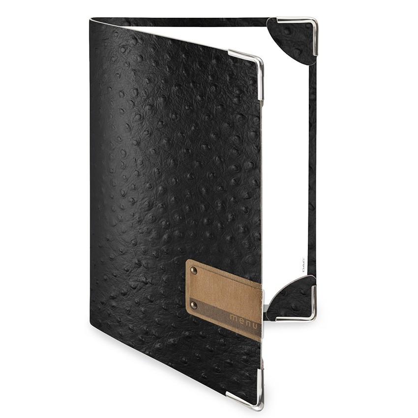 Protège menu DELUXE Fashion noir aspect peau d'autruche