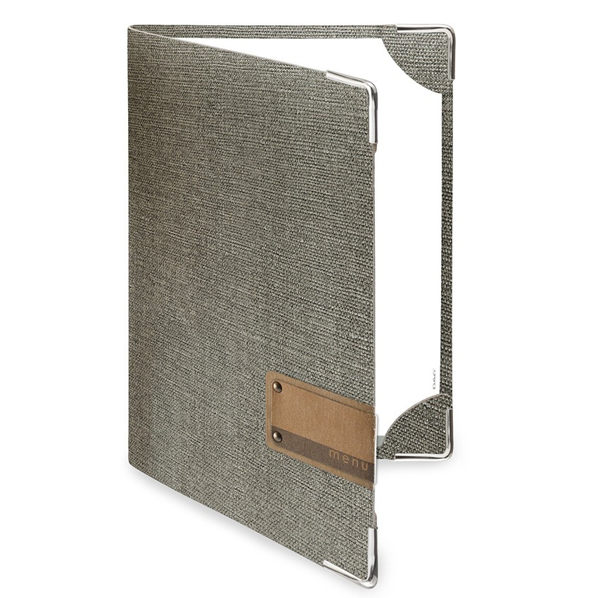 Protège menu DELUXE MenuMenu gris aspect jute