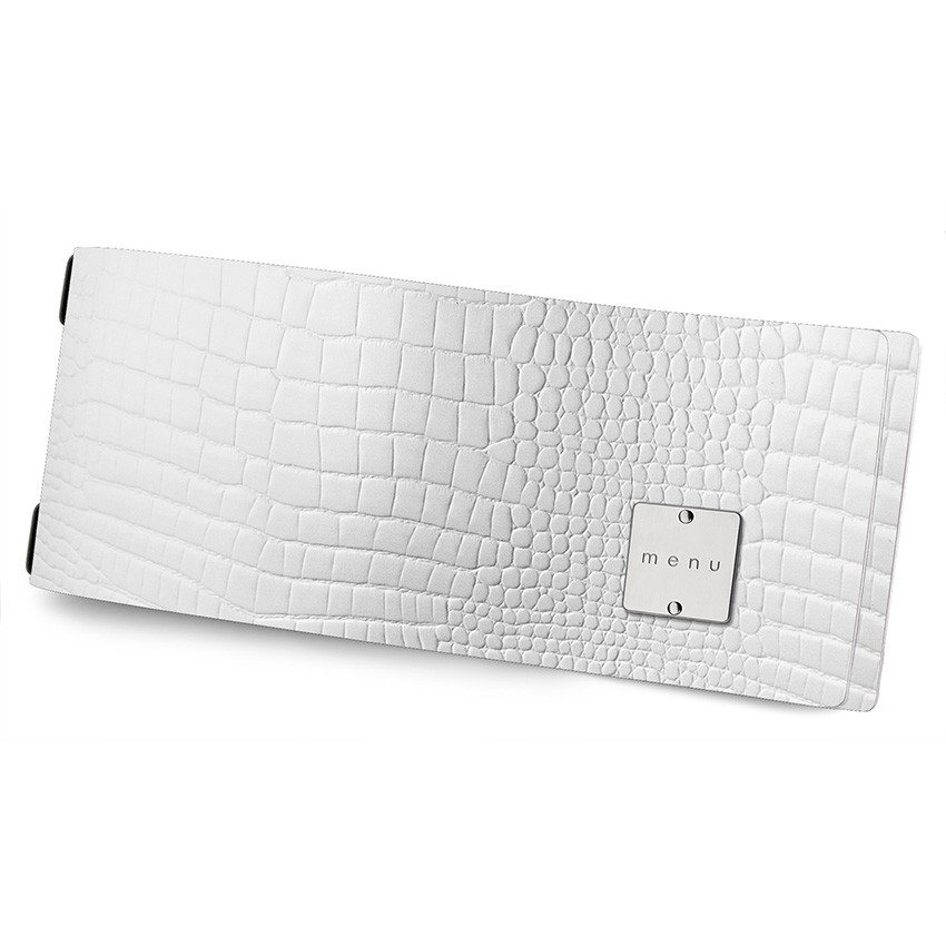 Protège menu CLUB HORIZONTAL Fashion blanc aspect crocodile