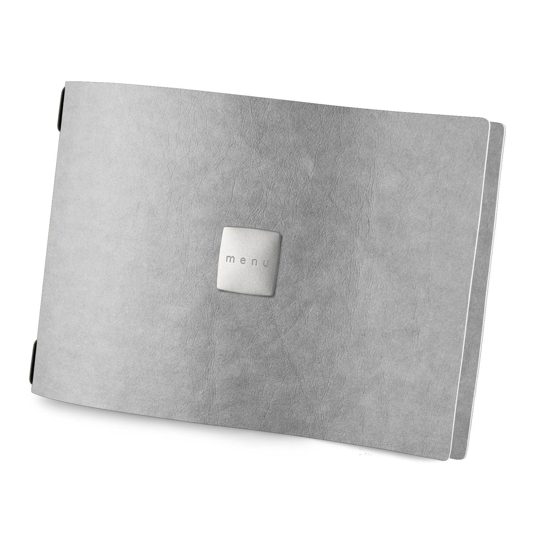 Protège menu A4 HORIZONTAL Ecologique gris aspect fibre lisse