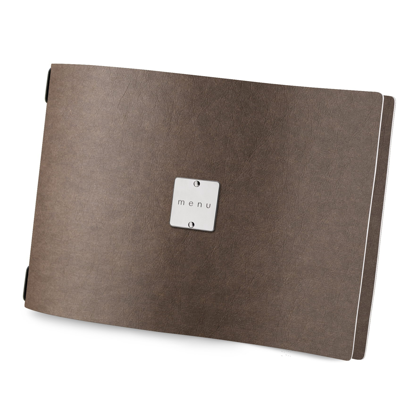 Protège menu A4 HORIZONTAL Ecologique marron aspect fibre lisse