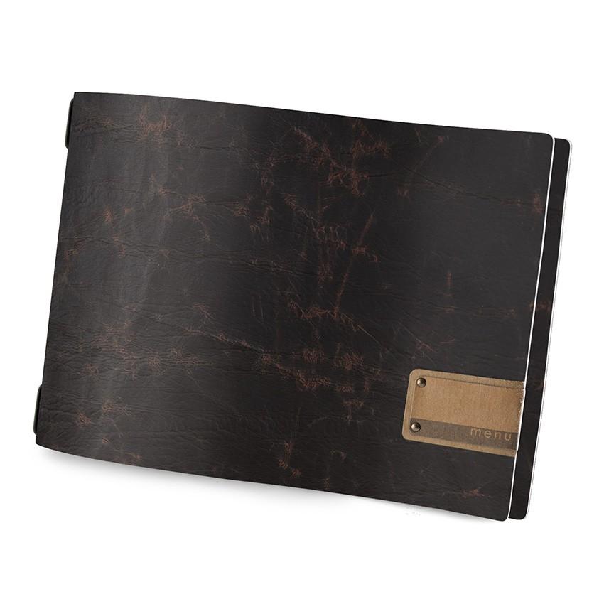 Protège menu A4 HORIZONTAL Ecologique marron aspect vintage épais