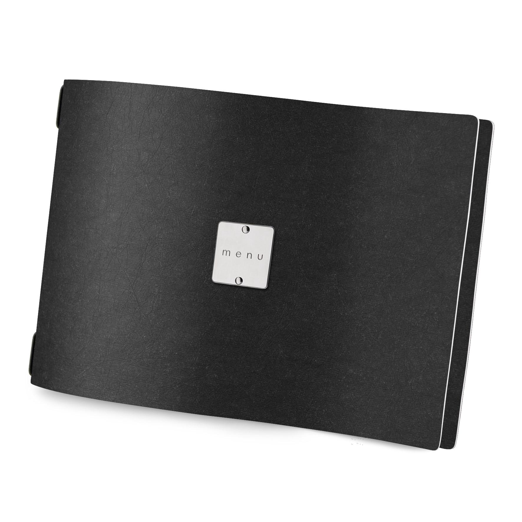 Protège menu A4 HORIZONTAL Ecologique noir aspect fibre lisse