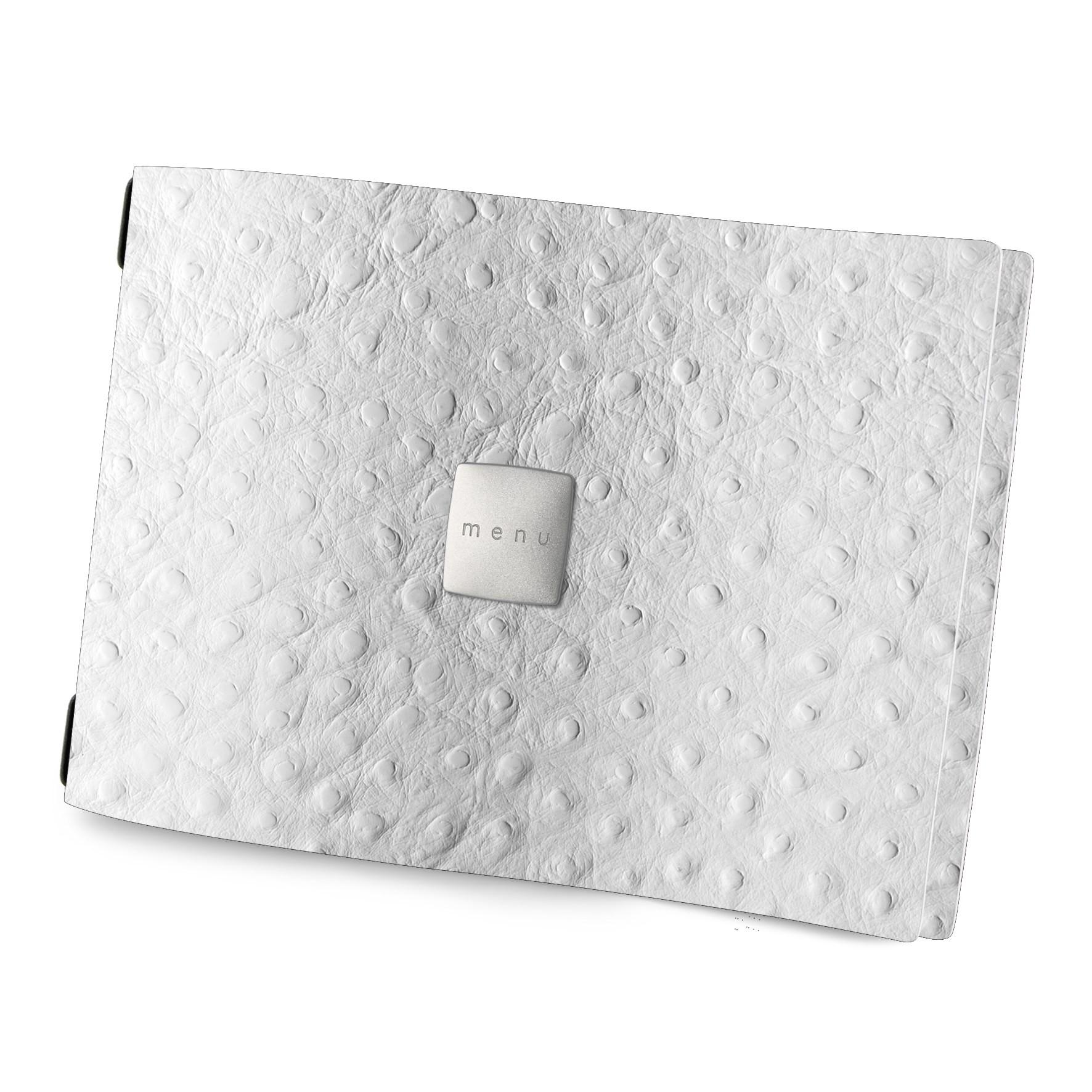 Protège menu A4 HORIZONTAL Fashion blanc aspect peau d'autruche