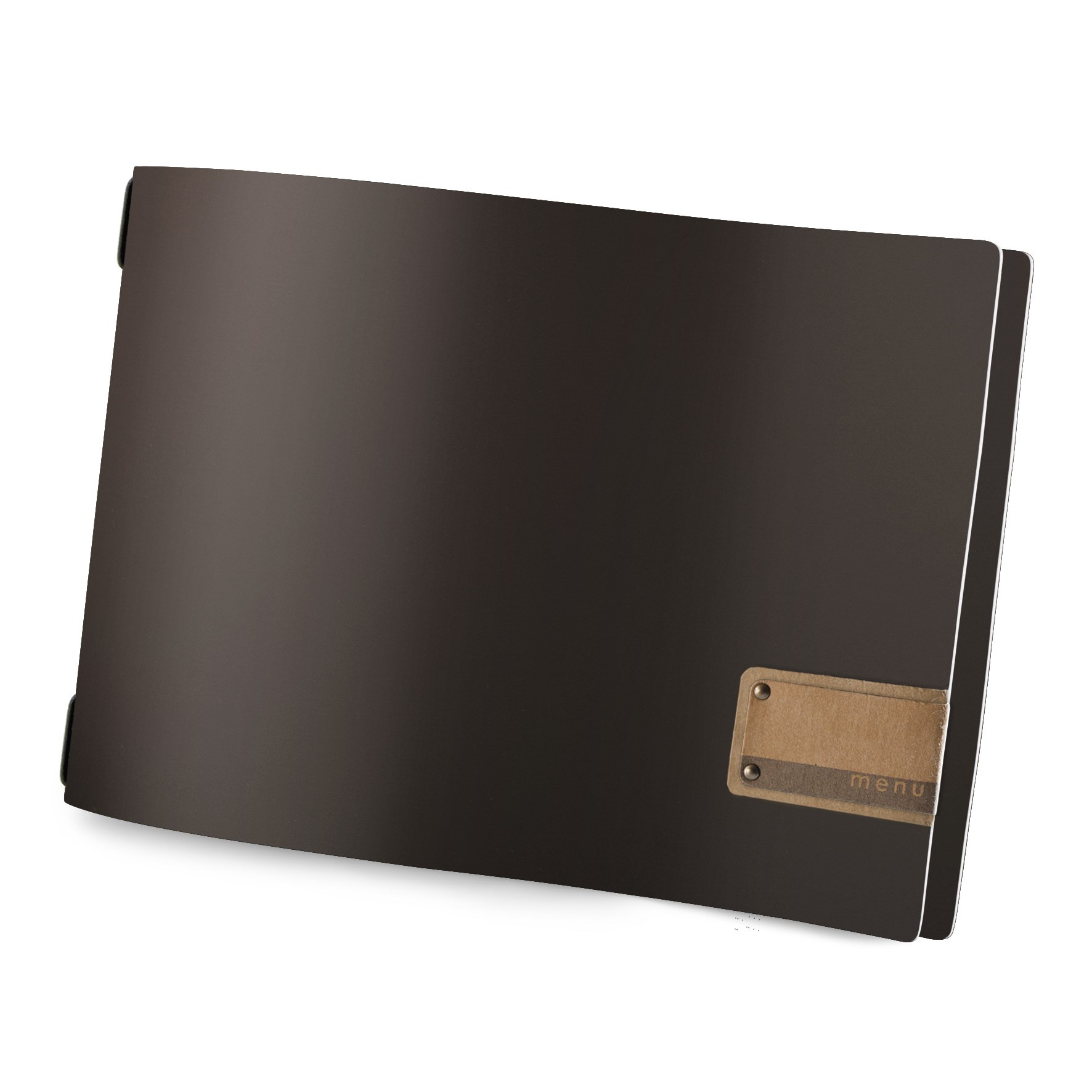 Protège menu A4 HORIZONTAL Fashion marron aspect lisse