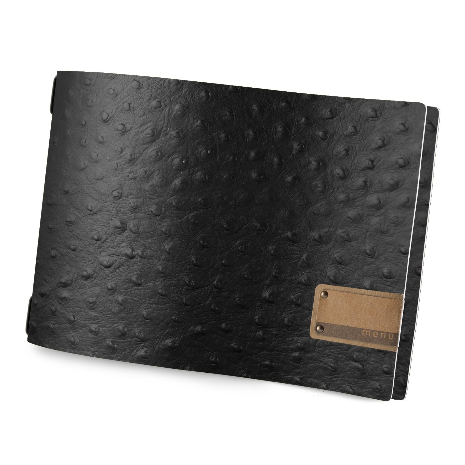 Protège menu A4 HORIZONTAL Fashion noir aspect peau d'autruche