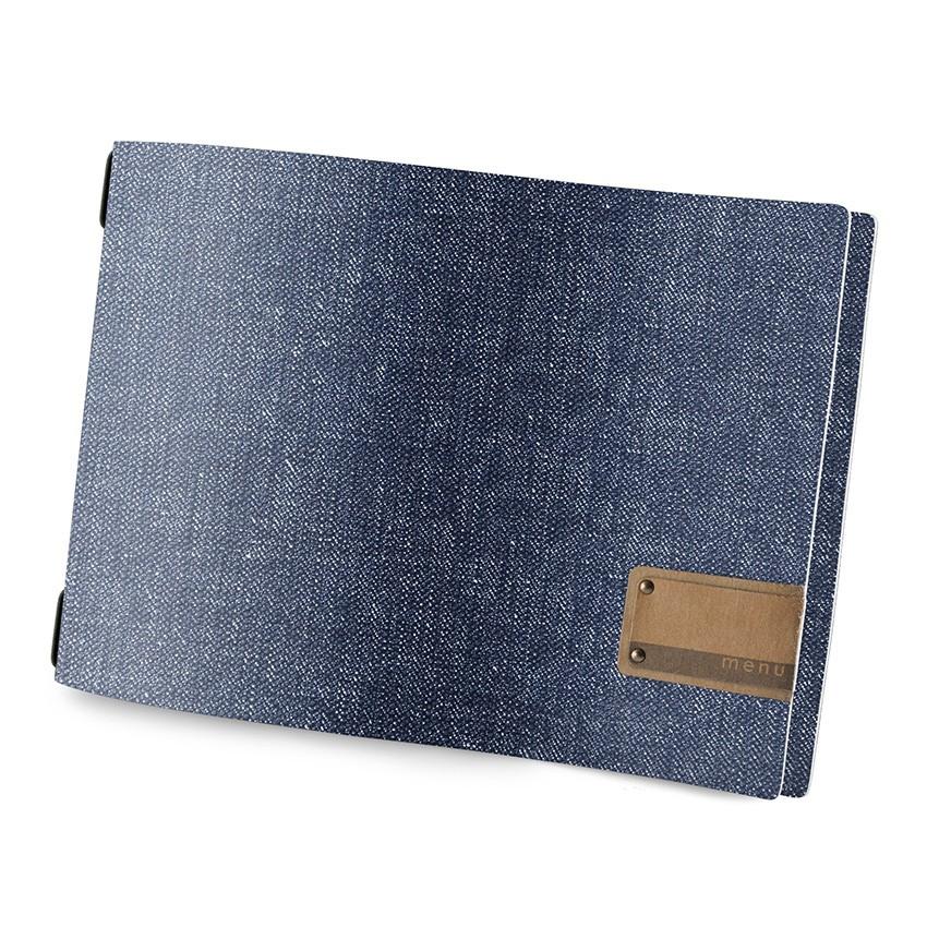 Protège menu A4 HORIZONTAL MenuMenu bleu aspect jean's