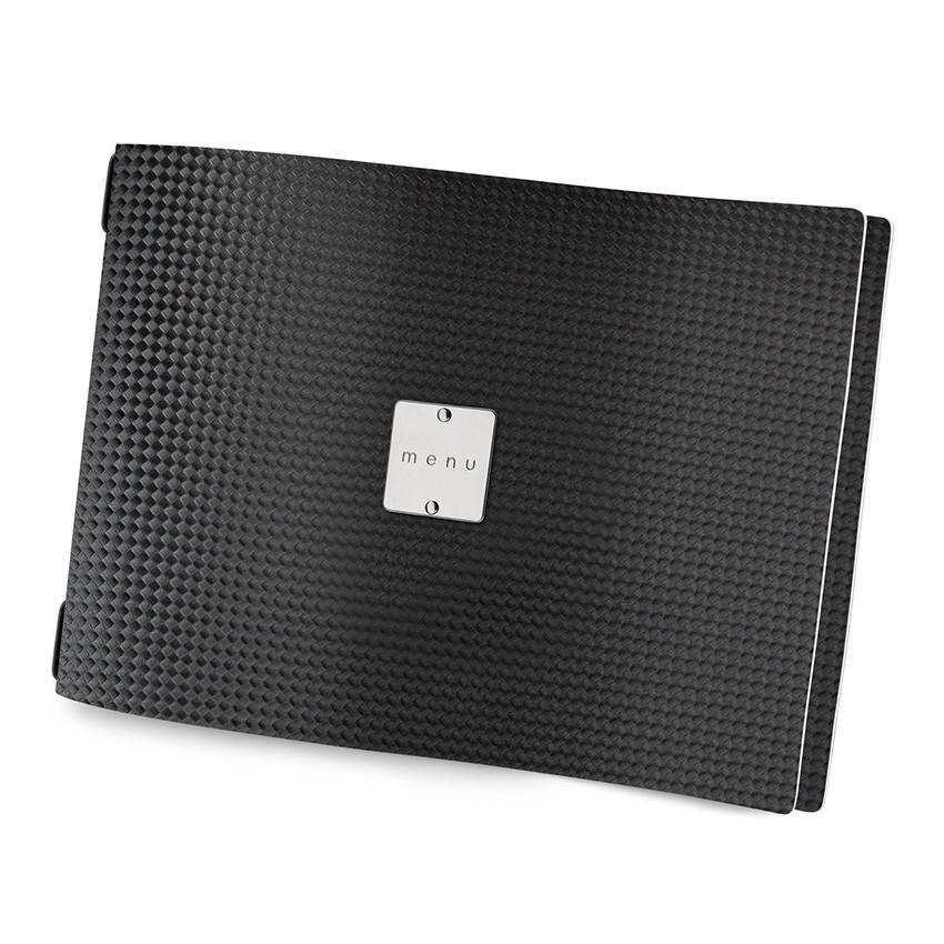 Protège menu A4 HORIZONTAL MenuMenu noir aspect carbon