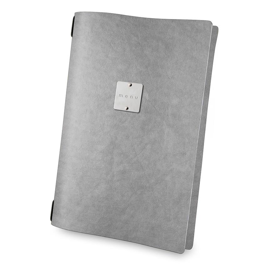 Protège menu A4 Ecologique gris aspect fibre lisse