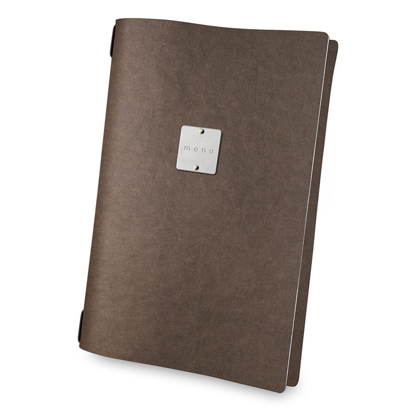 Protège menu A4 Ecologique marron aspect fibre lisse