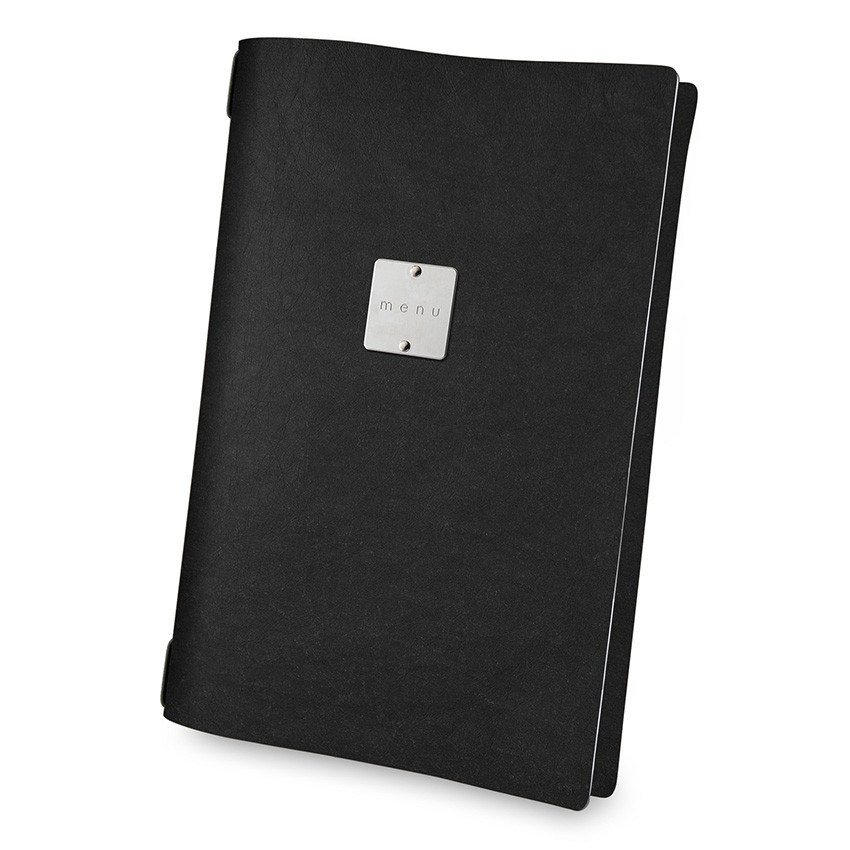 Protège menu A4 Ecologique noir aspect fibre lisse