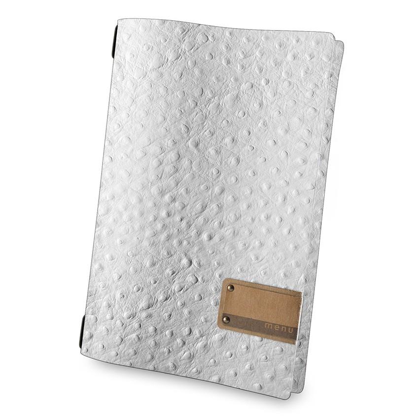 Protège menu A4 Fashion blanc aspect peau d'autruche