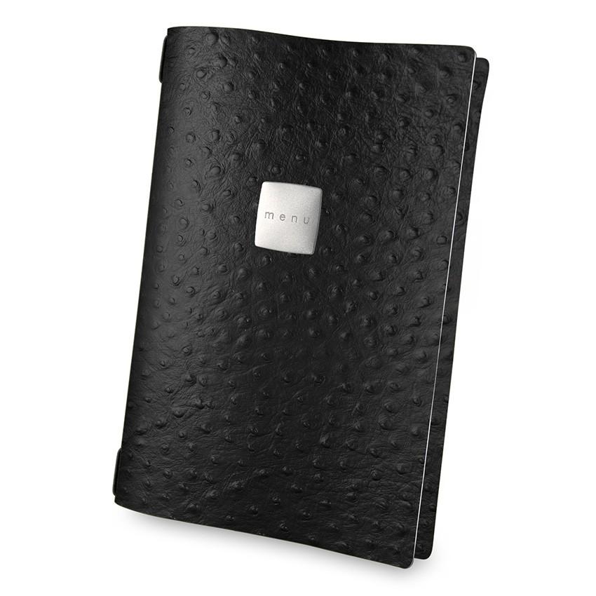 Protège menu A4 Fashion noir aspect peau d'autruche