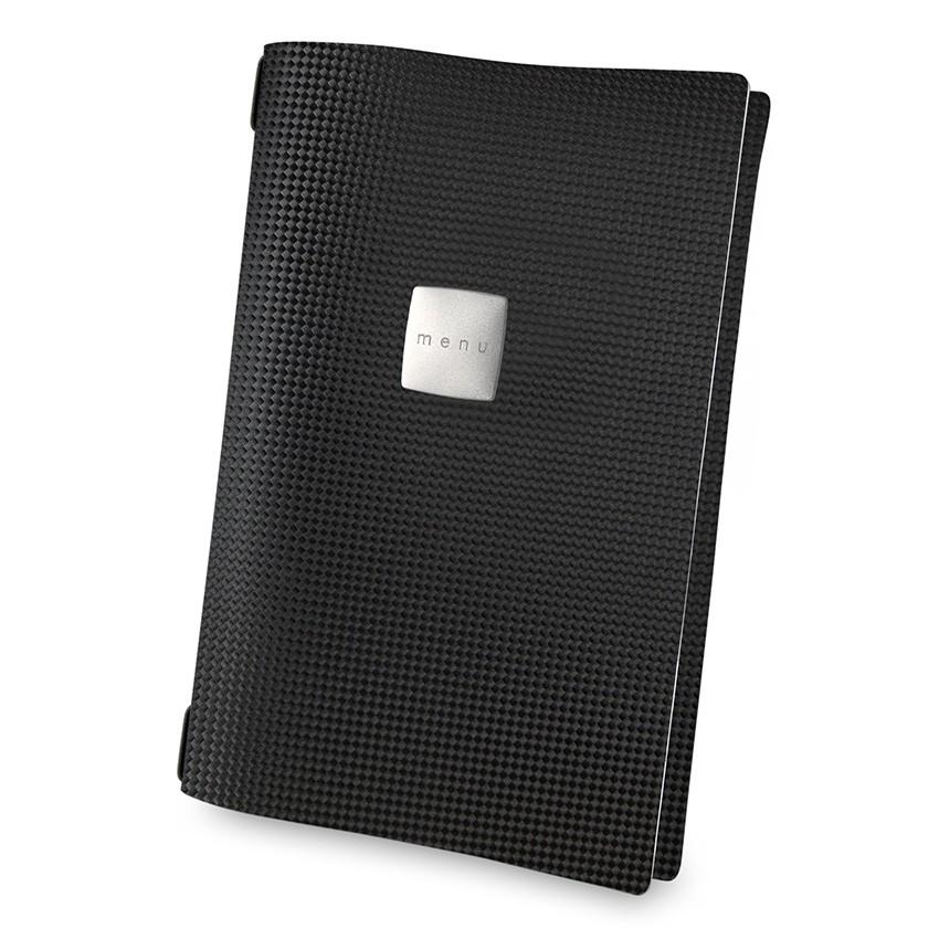 Protège menu A4 MenuMenu noir aspect carbon