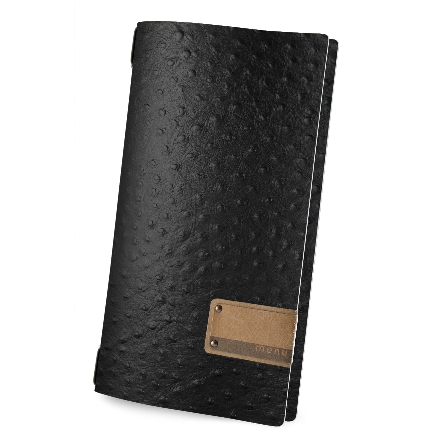 Protège menu 4RE Fashion noir aspect peau d'autruche