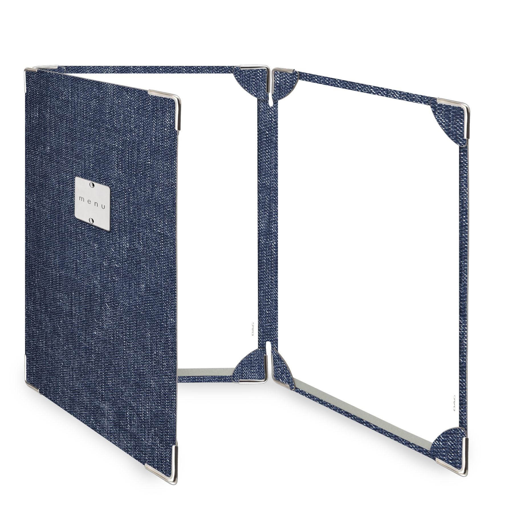 Protège menu 3 volets MenuMenu bleu aspect jean's