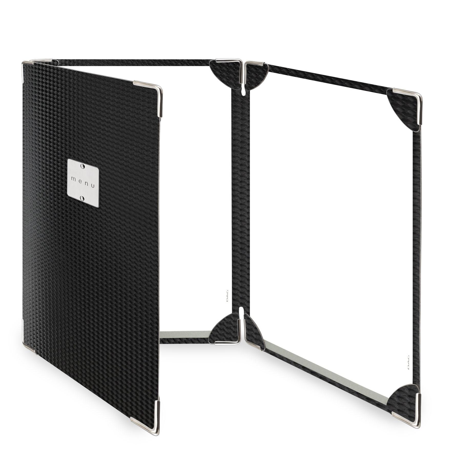 Protège menu 3 volets MenuMenu noir aspect carbon