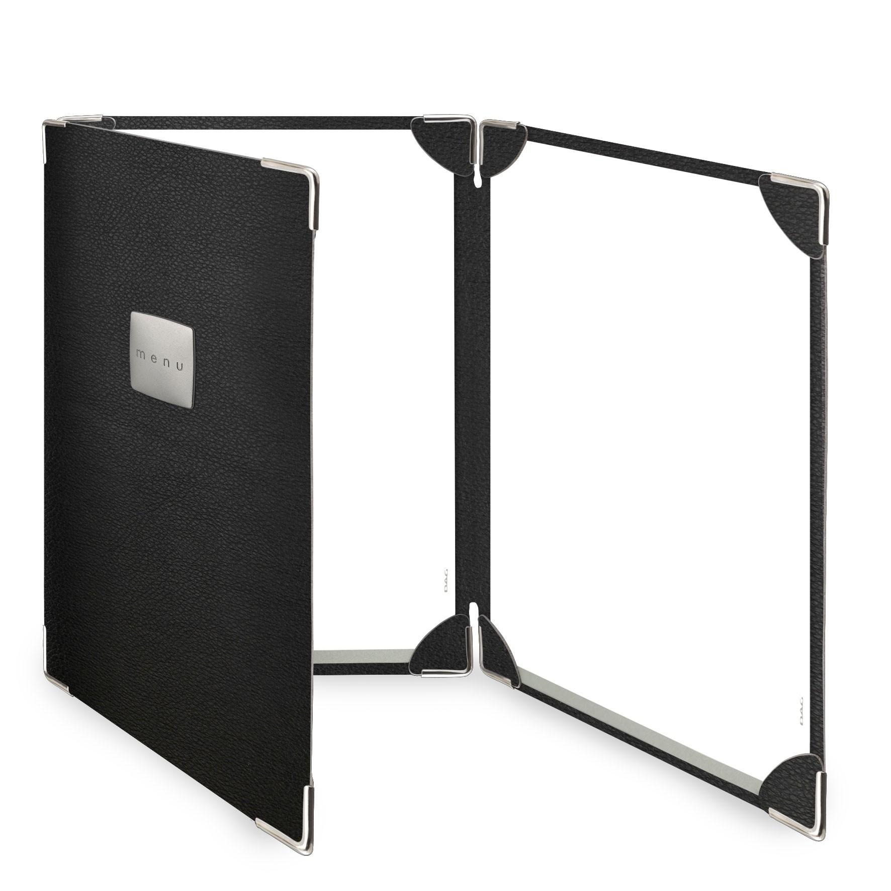 Protège menu 3 volets MenuMenu noir aspect lisse