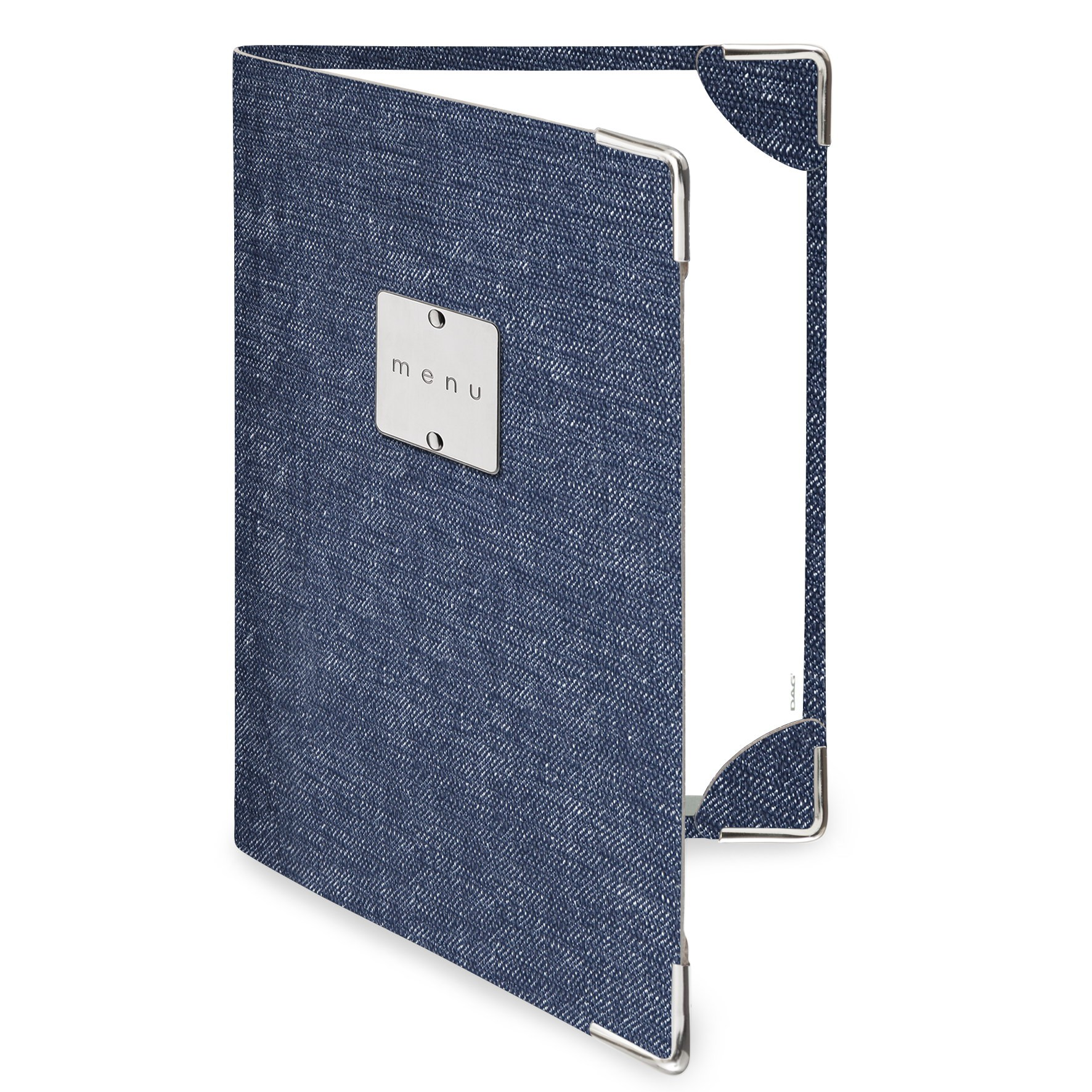Protège menu 2 volets MenuMenu bleu aspect jean's