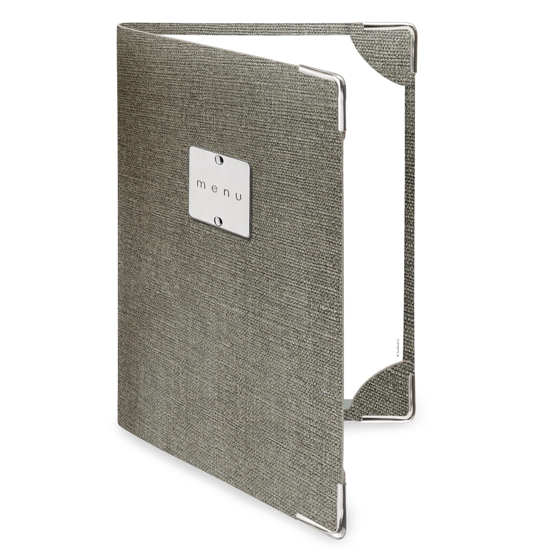 Protège menu 2 volets MenuMenu gris aspect jute