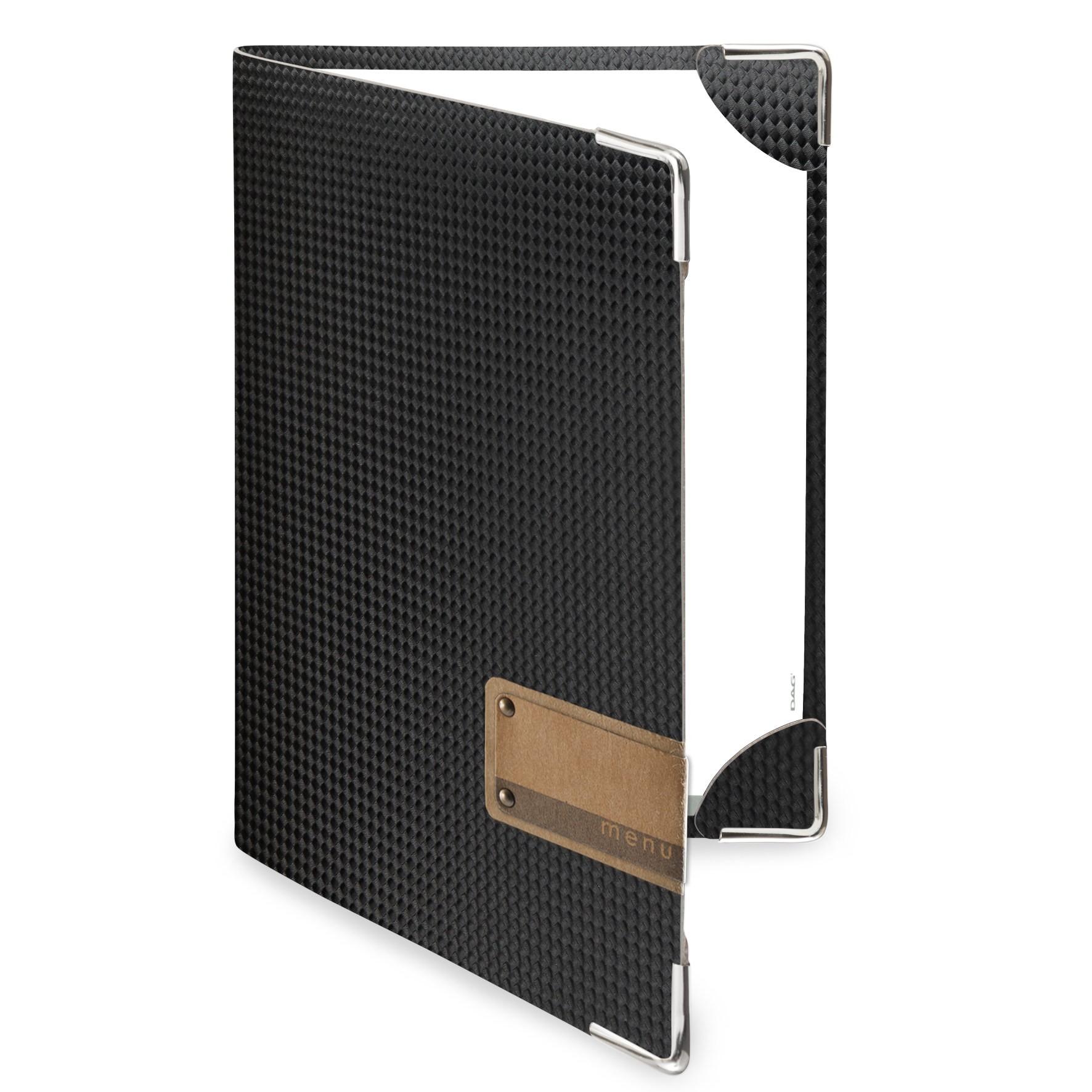 Protège menu 2 volets MenuMenu noir aspect carbon