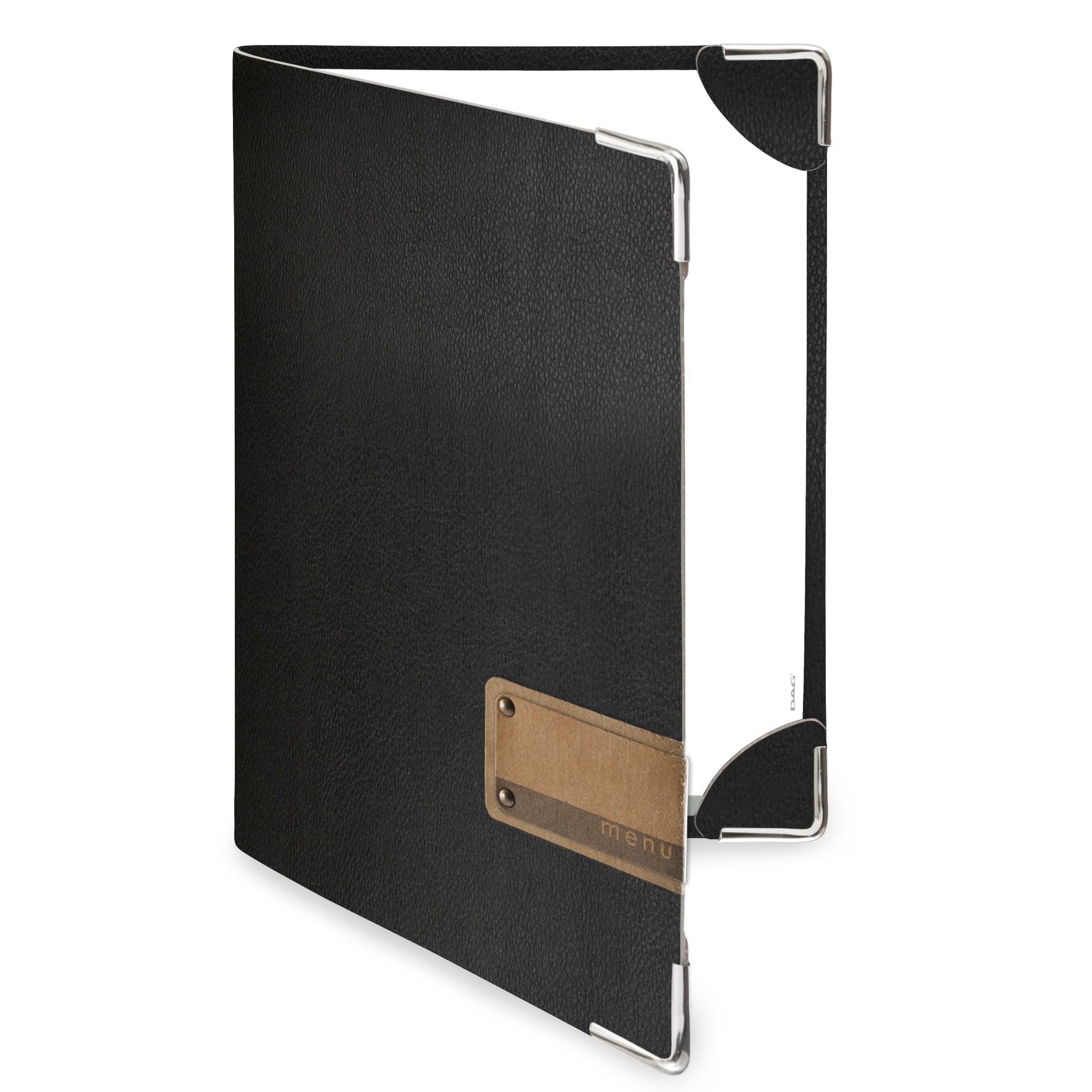 Protège menu 2 volets MenuMenu noir aspect lisse