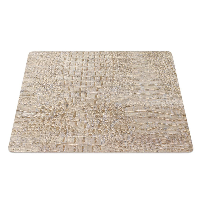 9 Set de table rectangle en liège blanc aspect crocodile