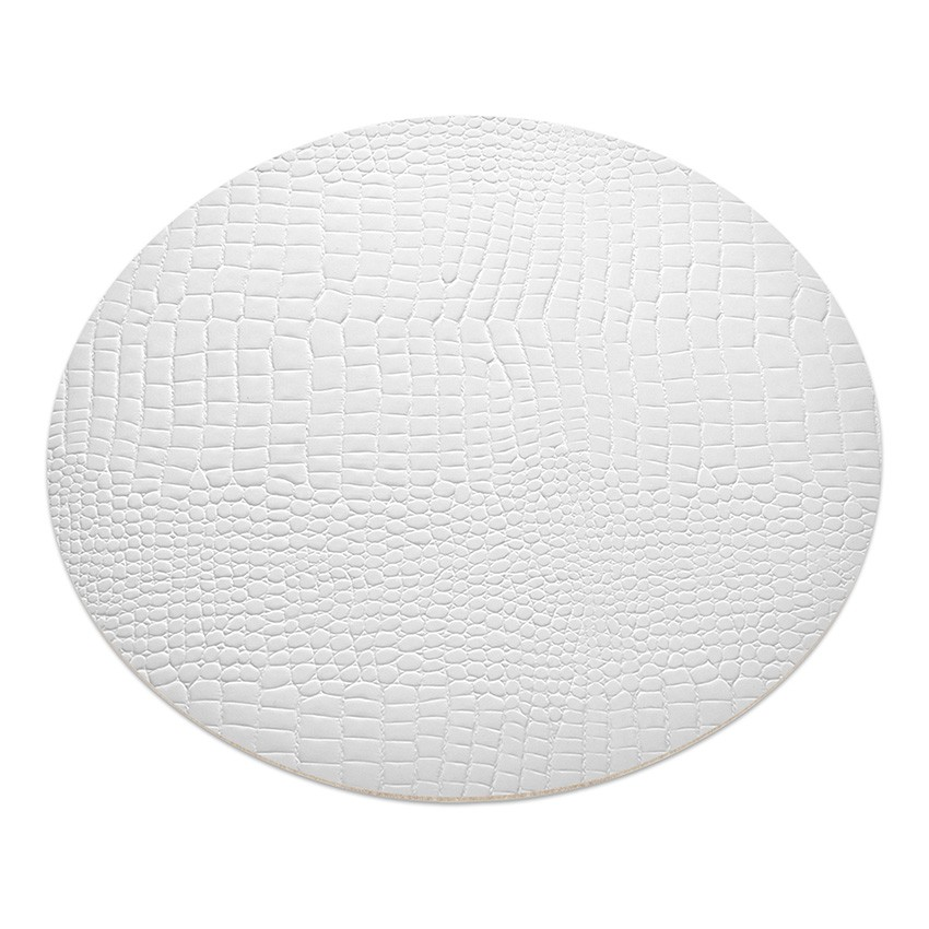 11 sets de table rond Fashion blanc aspect crocodile