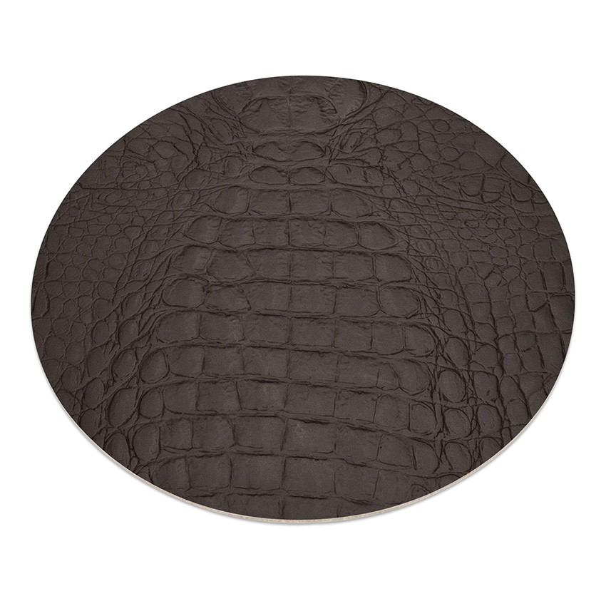 11 sets de table rond Fashion marron aspect crocodile