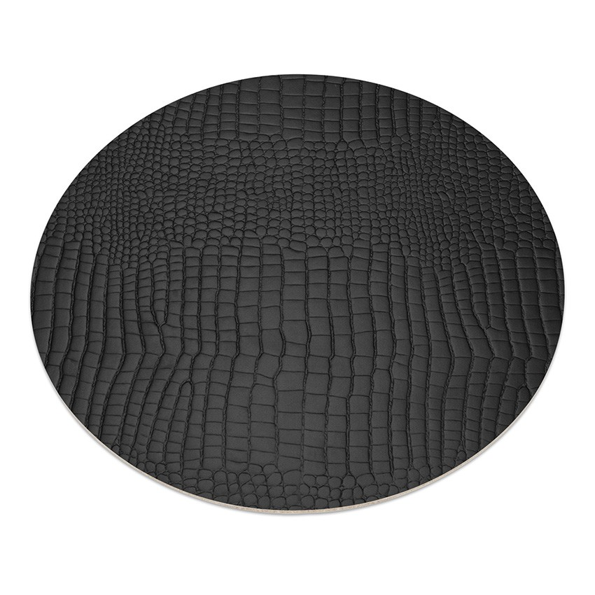 11 sets de table rond Fashion noir aspect crocodile