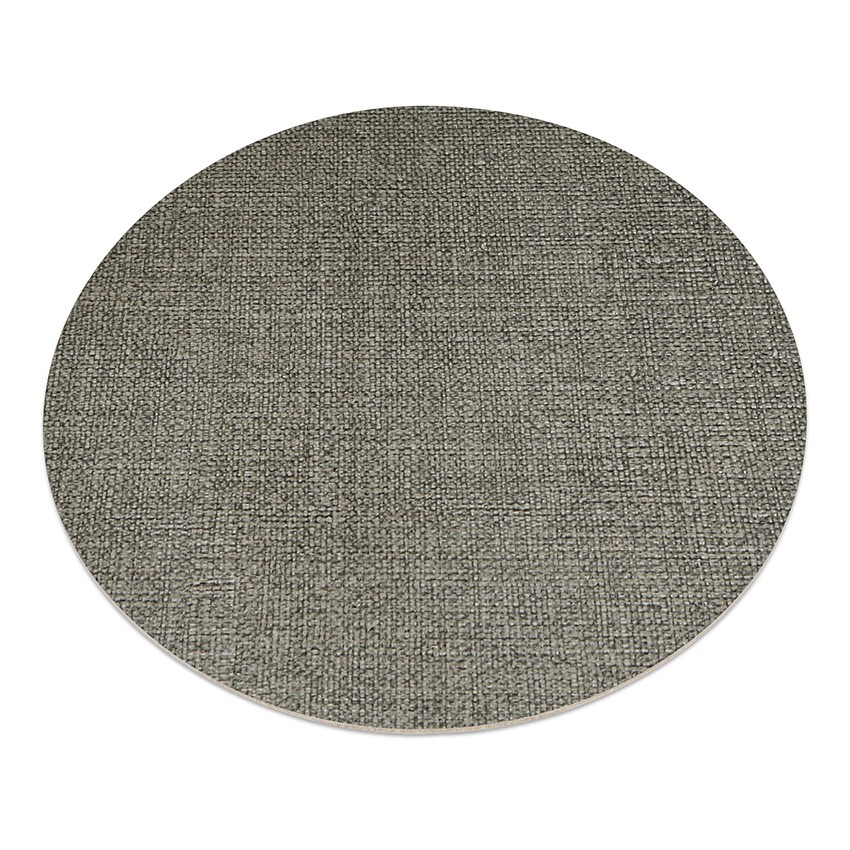 11 sets de table rond PVC gris aspect jute