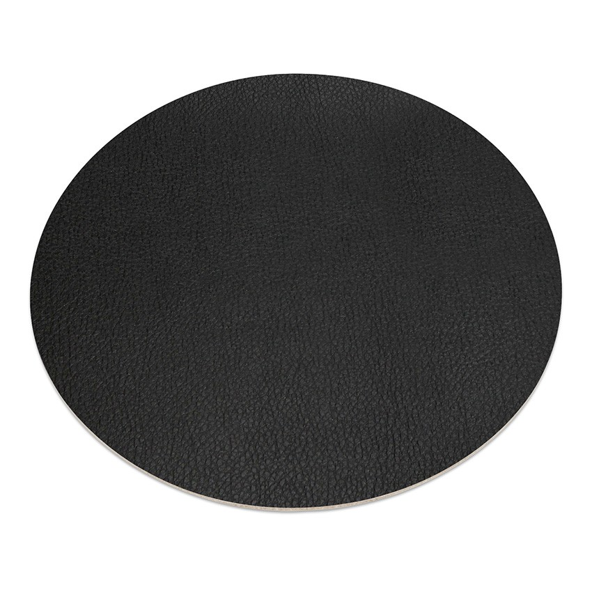 11 sets de table rond PVC noir aspect lisse
