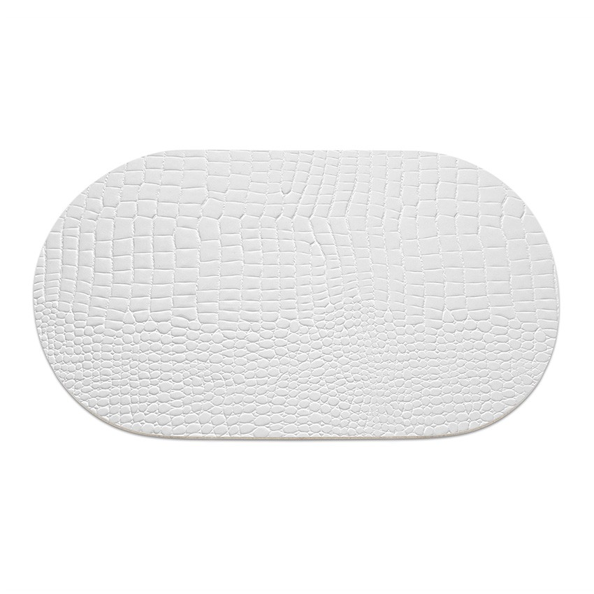 9 sets de table ovale Fashion blanc aspect crocodile