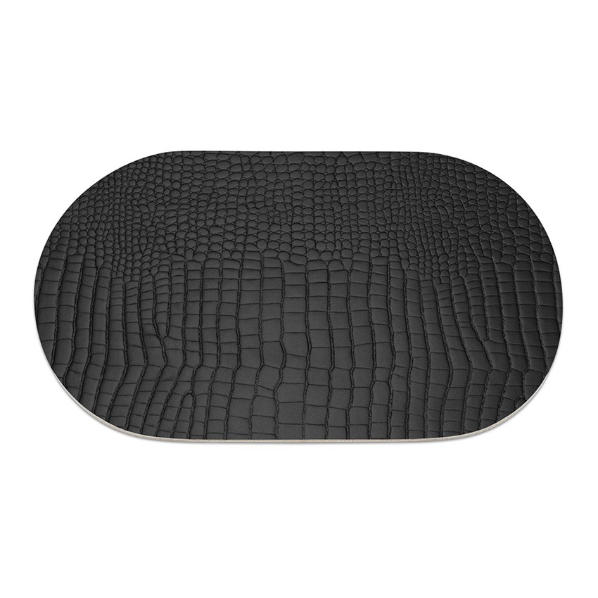 9 sets de table ovale Fashion noir aspect crocodile