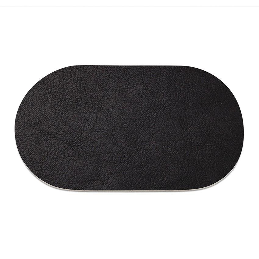 9 sets de table ovale Ecologique noir aspect peau