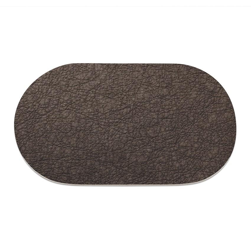 9 sets de table ovale Ecologique marron aspect peau