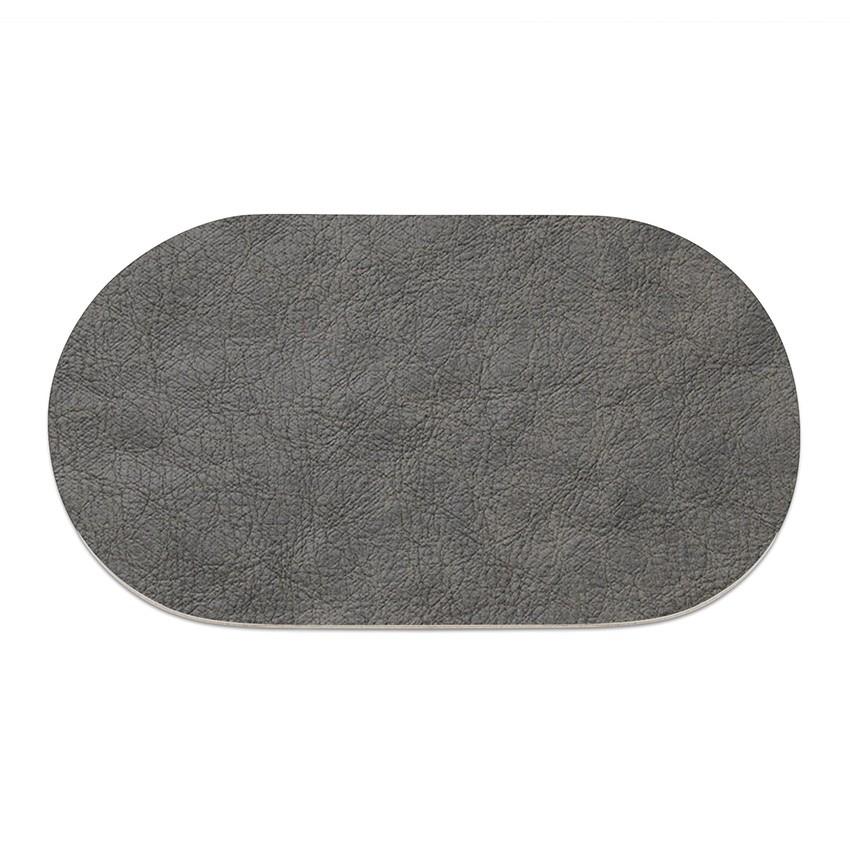 9 sets de table ovale Ecologique gris aspect peau